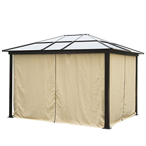 MRT SUPPLY 12'x10' Gazebo Canopy Net Hardtop Roof Aluminum Outdoor Patio Tent W/Mesh Walls with Ebook