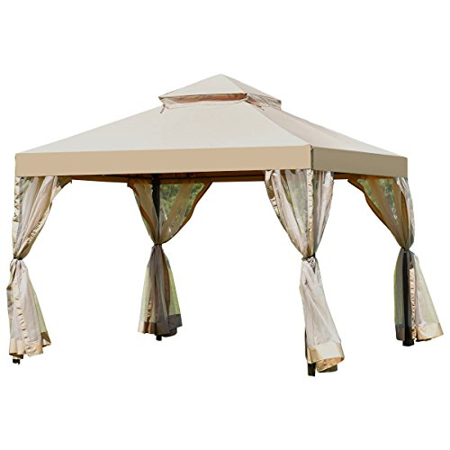 2 Tier 10'x10' Gazebo Canopy Shelter Awning Tent Patio Garden Brown Outdoor