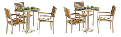 Oxford Garden 5037 Travira Tables and Chairs Bistro Set, Natural Tekwood
