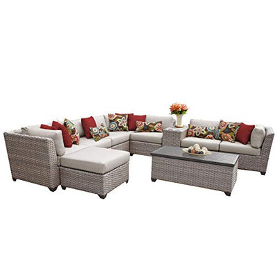 TK Classics FLORENCE-10b-BEIGE 10 Piece Outdoor Wicker Patio Furniture Set, Beige