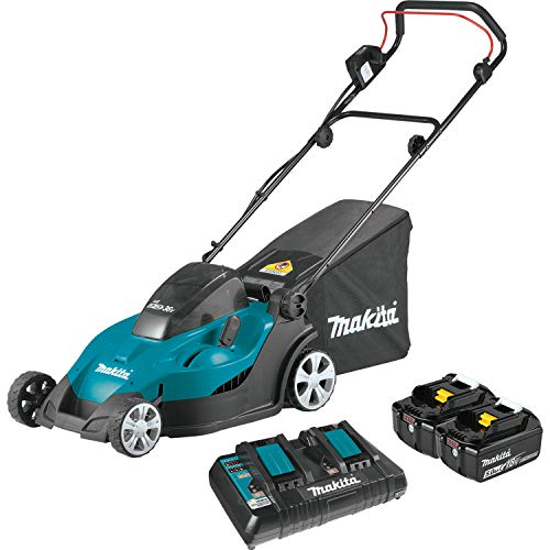 "Makita XML02PT 18V X2 (36V) LXT Lithium-Ion Cordless (5.0Ah) 17"" Lawn Mower Kit, Teal"