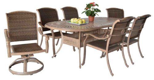 "Heritage Outdoor Living Santa Clara Cast Aluminum Dining Set With 42""X87"" Oval Table - Antique Bronze"
