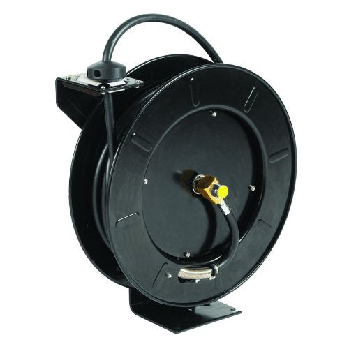 "T&S Brass 5HR-242-01 Hose Reel, Open, Powder Coated Steel, 50' x 3/8"" ID Hose with Spray Valve"