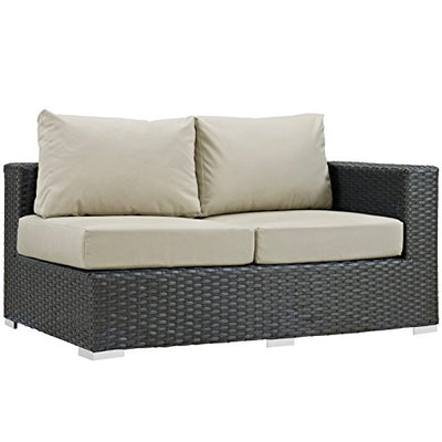 Modern Contemporary Urban Design Outdoor Patio Balcony Eleven PCS Sectional Sofa Set, Beige, Rattan