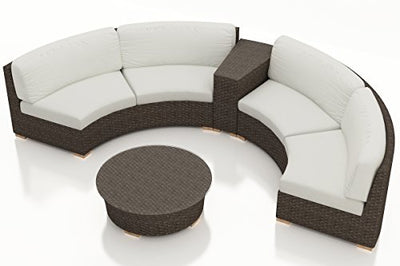 Harmonia Living HL-ARD-CH-4CSEC-CN 4 Piece Arden Curved Sectional Set, Canvas Natural Cushions
