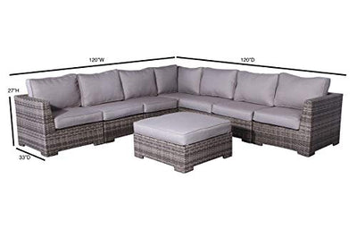 Cabana Collection Outdoor Wicker Patio Furniture Sectional Conversation Sofa Set for Backyard, Porch or Pool | No Assembly Required [CM-3107] (8 Piece Sectional Ottoman Set, Grey)