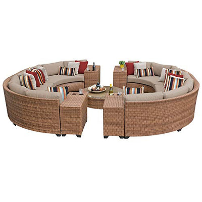 TKC 11 Piece Laguna-11B Outdoor Wicker Patio Furniture Set, Wheat