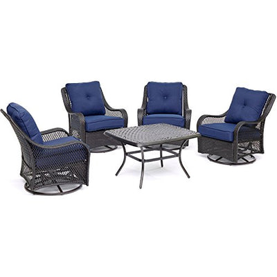 "Hanover ORL5PCCTSW4-NVY Orleans 5-Piece Patio Chat Set In  Blue With 4 Swivel Rockers And A 24"" X 50"" Cast-Top Coffee Table Outdoor Furniture,  vy"