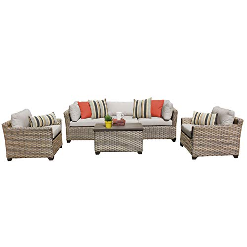 HomeRoots 6 Piece Outdoor Wicker Patio Furniture Set 06b - Beige, Made of PE Resin with Powder Coated Aluminum Finish