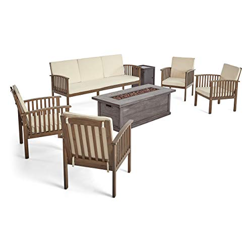 Great Deal Furniture Suzanne Sophia Outdoor 7 Piece Acacia Wood Chat Set with Fire Pit, Gray and Gray