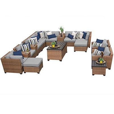 TK Classics LAGUNA-17a-GREY Laguna 17Piece Outdoor Wicker Patio Furniture Set, Grey