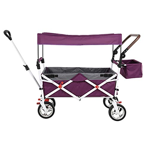 cyk Folding Utility Wagon - Collapsible Outdoor Garden Camping Hand Cart with Side Pockets and Ceiling Removable Fabric,Suitable for Shopping Picnic Beach