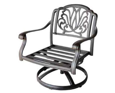 Heritage Outdoor Living Cast Aluminum Elisabeth 5pc Deep Seating swivel rocker conversation set with 52in table- Antique Bronze