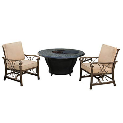 Oakland Living Corporation Novelina Round Firepit Table Set with Burner System, Fire Beads, Weather Cover and Two Cushioned Spring Rocking Chairs