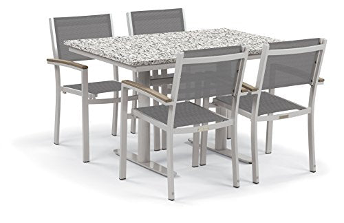 "Oxford Garden Travira 5-Piece Bistro Set with 34""x48"" Table - Steel - Lite-Core Ash - Titanium Sling - Tekwood Vintage"