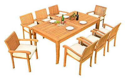 "9 PC A Grade Outdoor Patio Teak Dining Set - 118"" Double Extension Atnas Table & 8 Naples Stacking Arm Chairs"