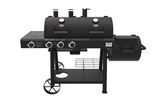 Char-Griller 3070 Texas Trio 3-Burner Dual Fuel Grill with Smoker in Black