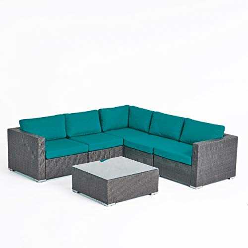 Great Deal Furniture Kyra Rosa Outdoor 5 Seater Wicker Sectional Sofa Set with Sunbrella Cushions, Gray and Sunbrella Canvas Teal