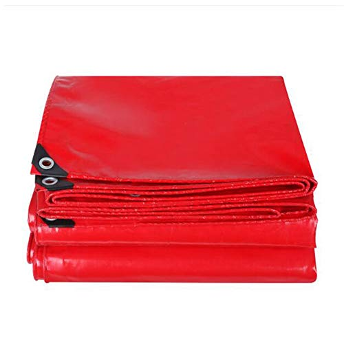 Dall Tarpaulin 500g/m² 0.45mm Thick Waterproof Anti-UV Rainproof Anti-Aging Foldable Metal Buttonhole (Color : Red, Size : 6×8m)