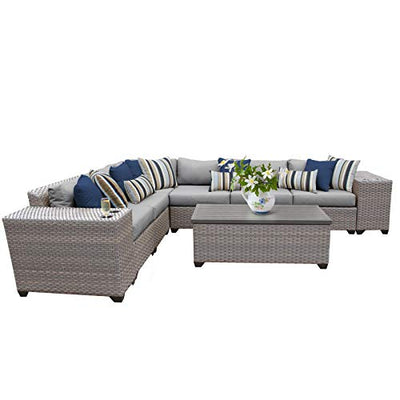 TK Classics FLORENCE-09b-GREY 9 Piece Outdoor Wicker Patio Furniture Set, Grey