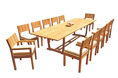 "TeakStation 12 Seater Grade-A Teak Wood 13 Pc Dining Set: 118"" Double Extension Mas Rectangle Trestle Leg Table and 12 Veranda Chairs (2 Arm & 10 Armless Chairs) #31VR1513"