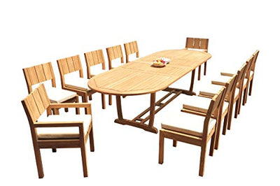 "WholesaleTeakFurniture Grade-A Teak Wood 12 Seater 13 Pc Dining Set: 118"" Double Extension Mas Oval Trestle Leg Table and 12 Veranda Chairs (2 Arm & 10 Armless Chairs) #21VR1713"