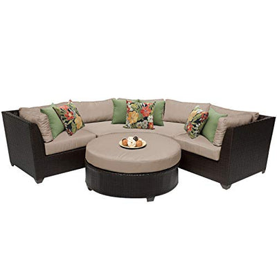 TK Classics BARBADOS-04a 4 Piece Outdoor Wicker Patio Furniture Set, Wheat