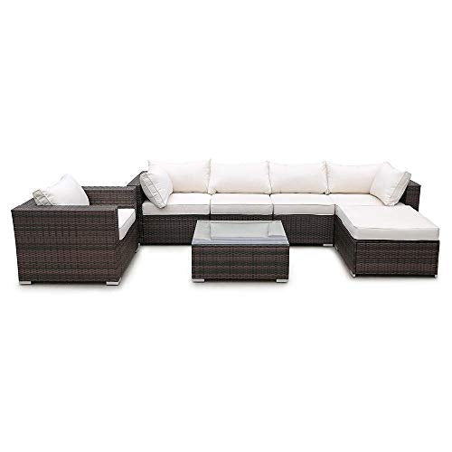 YouNB PE Rattan Sofa Set Couch Steel Frame Living Room Balcony Outdoor Garden Cushion U Shaped Rattan Sofa Glass Table Home Furniture@Taupe_United States