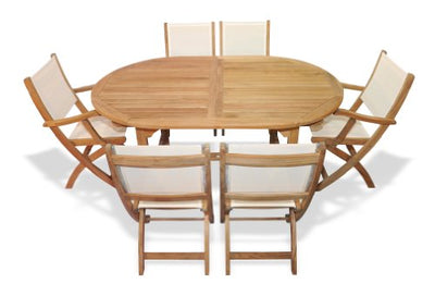 Teak Outdoor Dining Set for 6 Oval Table with Teak and Sling Folding Chairs