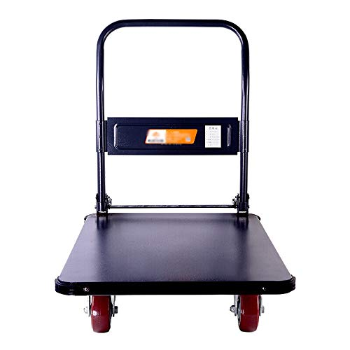 ZLH Hand-cart car - Heavy-Duty Pure Steel Plate Flat car Trolley Hand Factory cart Pull Truck handling car Cargo Load About 500kg o$ (Color : A)