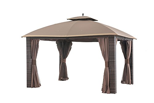 Sunjoy 12' x 10' Sonoma Wicker Gazebo, Large, Brown/Gold Trim