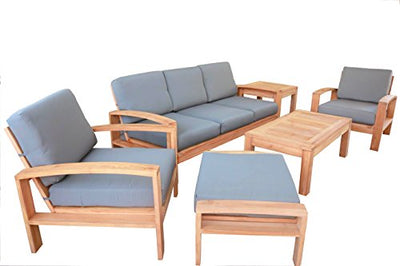 6 PC A Grade Outdoor Patio Teak Sofa Set - 3-Seater Sofa, 2 Deep Seating Club Chairs, 1 Side Table, 1 Rectangle Coffee Table And 1 Ottoman-Furniture Only - Cadras Collection