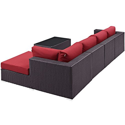 Modern Contemporary Urban Design Outdoor Patio Balcony Five PCS Sectional Sofa Set, Red, Rattan