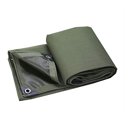 Dall Tarpaulin Heavy Duty Waterproof Shade Anti-Tearing Four-Corner Reinforcement Outdoor Multipurpose Canvas Tarp (Color : Green, Size : 6×7m)