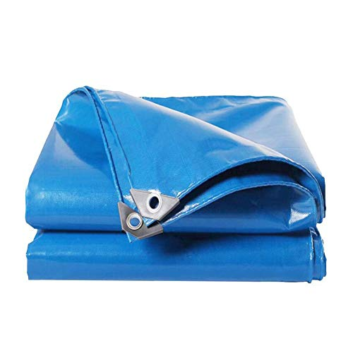 Dall Tarpaulin 520g/m² Dustproof Waterproof Sunscreen Outdoor Poncho Rain Cover Tear-Resistant Multiple Sizes (Color : Blue, Size : 6×8m)
