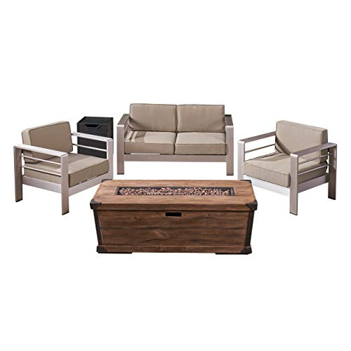 Christopher Knight Home Eason Outdoor 3 Piece Aluminum Chat Set with Cushions and Fire Pit, Silver with Khaki and Brown