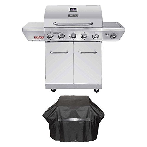 Nexgrill Evolution 5-Burner Propane Gas Grill in Stainless Steel with Side Burner and Infrared Technology Plus Grill Cover