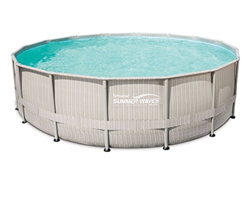Summer Waves 20ft. Light Wicker Print Elite Frame above Ground Pool, 20 Foot