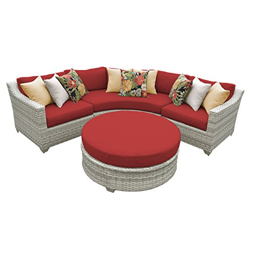 TK Classics FAIRMONT-04a-TERRACOTTA 4 Piece Outdoor Wicker Patio Furniture Set, Terracotta