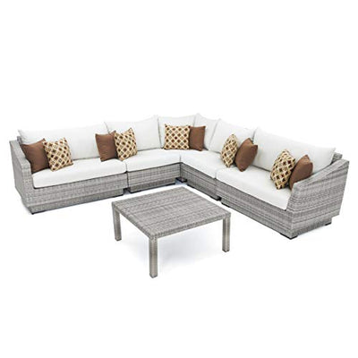RST Brands Cannes 6-Piece Corner Sectional Set with Cushions, Cream