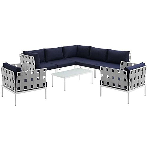 Modway EEI-2619-WHI-NAV-SET Harmony Outdoor Patio Aluminum Sectional Sofa Set, 8 Piece, White Navy