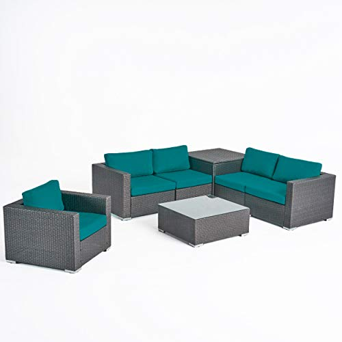 Great Deal Furniture Isabel Rosa Outdoor 5 Seater Wicker Sectional Sofa Set with Storage Ottoman and Sunbrella Cushions, Gray and Sunbrella Canvas Teal