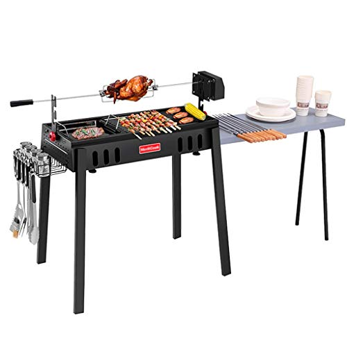 Barbecue Grill Charcoal Tool Grill Camping Beach BBQ, Collapsible Full Accessories Rotating Grill Smokeless (Color : Black, Size : 1555085cm)