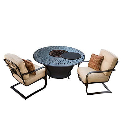 Oakland Living Corporation Novelina Firepit Table Set with Burner System, Fire Beads, Weather Cover and Two Cushioned Spring Chairs with 2 Throw
