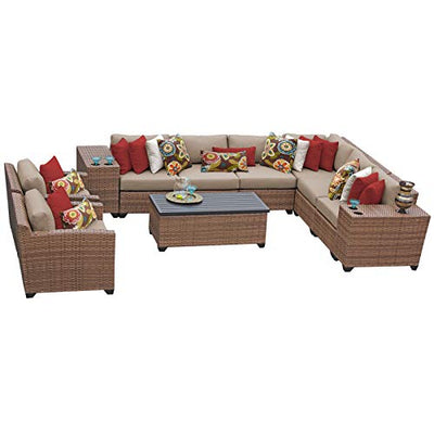 HomeRoots 11 Piece Outdoor Wicker Patio Furniture Set 11d - Wheat, Made of PE Resin with Powder Coated Aluminum Finish