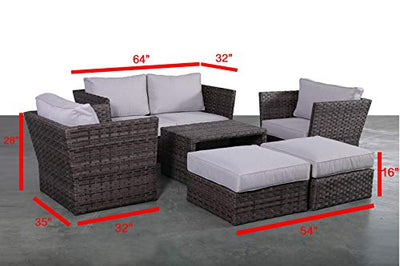 Patio Sofa Set | Weather Resistant Wicker & Cushions Outdoor Patio Furniture Set | No Assembly Required [CM-4446] (7 Pc Loveseat Club Set)