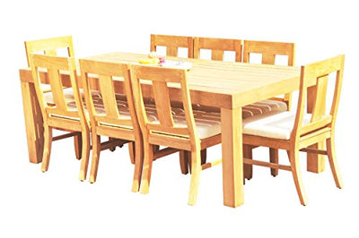 "8 Seats 9 Pcs Grade-A Teak Wood Dining Set: 86"" Canberra Rectangle Table and 8 Osborne Armless Chairs #11OS-0109"