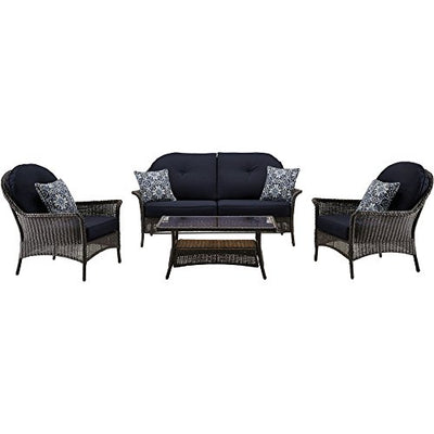 Cambridge SAROS4PC-NVY Saros, Blue/Navy 4 Piece Patio Set