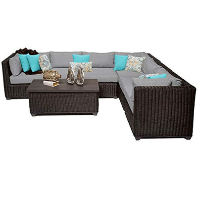 TK Classics VENICE-07b-GREY Venice 7 Piece Outdoor Wicker Patio Furniture Set, Grey