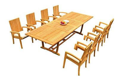 "8 Seats 9 Pcs Grade-A Teak Wood Dining Set: 118"" Double Extension Mas Rectangle Trestle Leg Table and 8 Goa Stackng Arm Chairs #11GO1509"